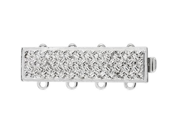 Silver-Plated Rectangle Clasp, 27x7mm with 4 Rings