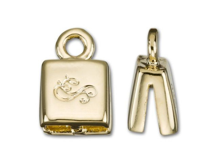 SilverSilk 3mm Gold-Plated Brass Double Strand End Cap (Sold by the Pair)