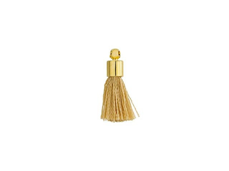 Small Beige Tassel with Gold Cap