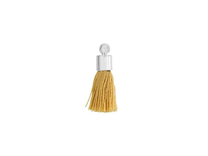 Small Beige Tassel with Silver Cap