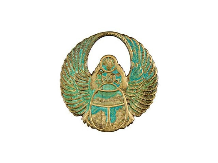 Small Brass Egyptian Scarab Embellishment with Patina