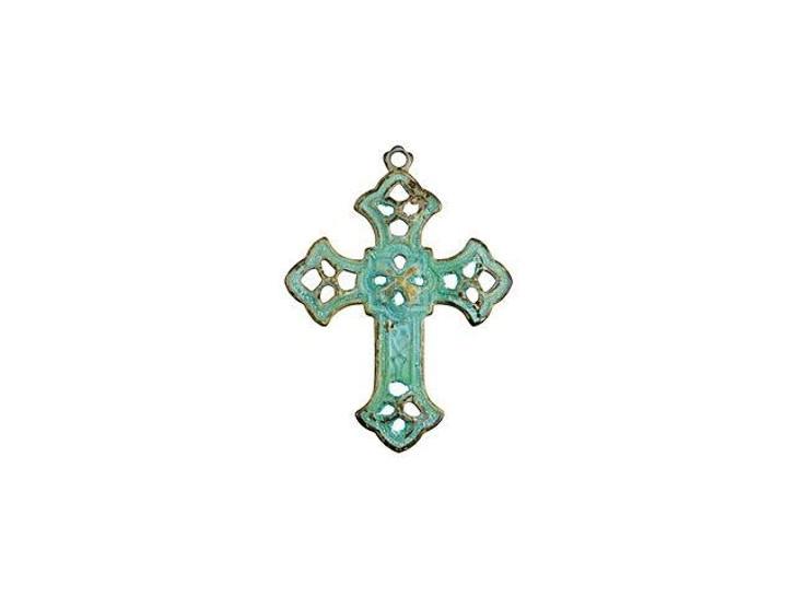 Small Brass Filigree Cross Pendant with Patina