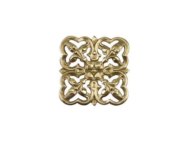 Small Brass Square Filigree Embellishment