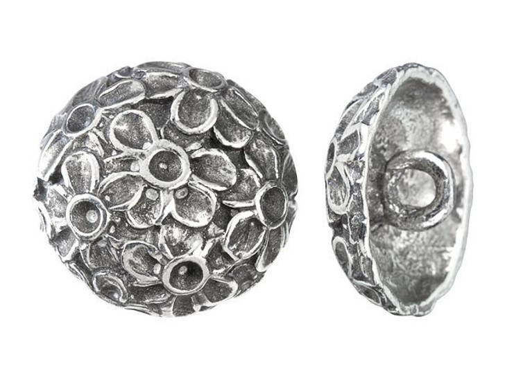 19mm Antique Pewter Round Floral Button