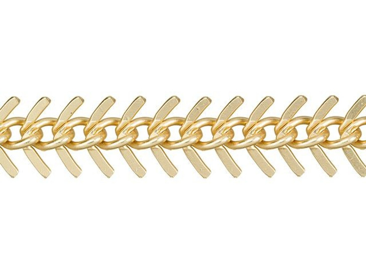 Small Satin Hamilton Gold-Plated Fishbone Chain by the Foot