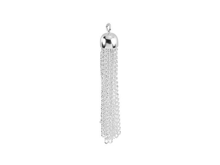 Small Silver-Plated Brass Tassel Pendant