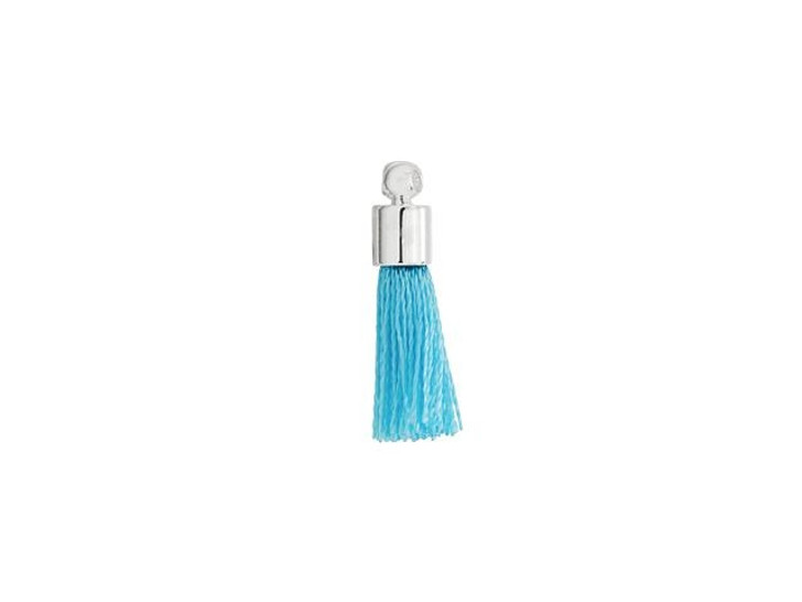 Small Turquoise Tassel with Silver Cap