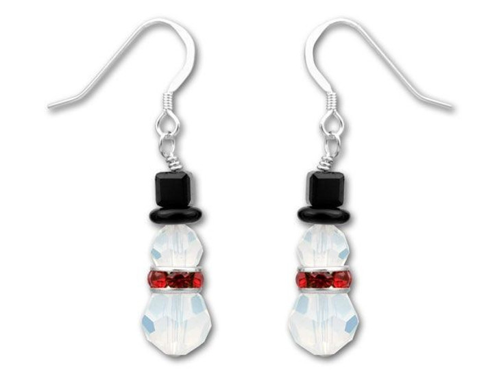 Snowman with Red Rondell Earring Kit