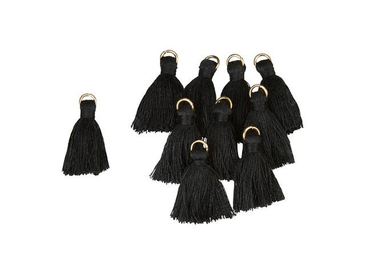 1-Inch Black Tassel with Gold Ring (10pc pack)