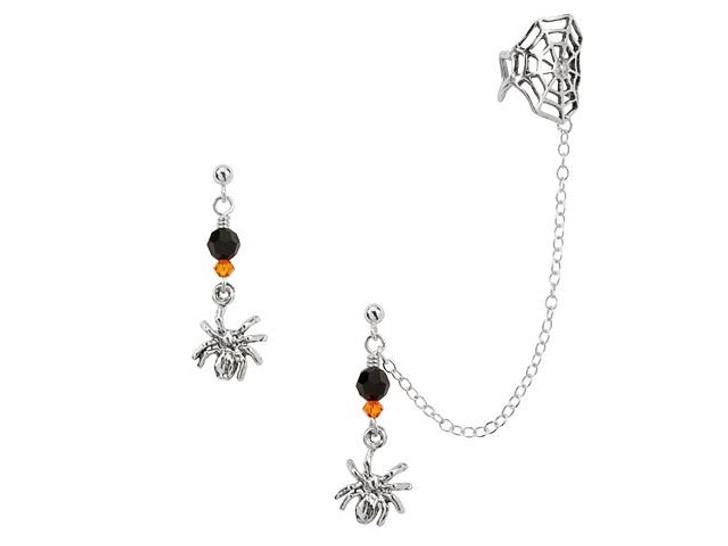 Spiderweb Spell Earrings Kit featuring Swarovski Crystals