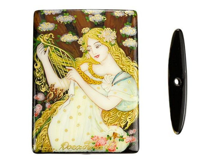 Spring by Mucha on Black Agate Rectangle Bead