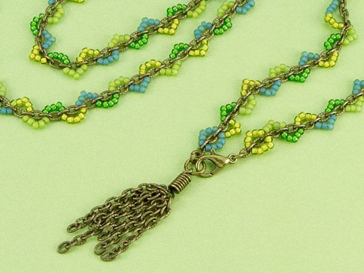 Spring Scallop Wrap Necklace/Bracelet Combo Kit with Brass Chain