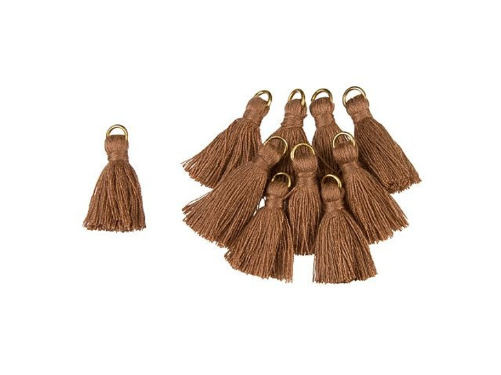 1-Inch Brown Tassel with Gold Ring (10pc pack)