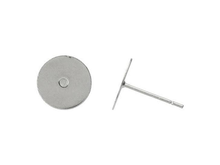 Stainless Steel 10mm Flat Glue-On Post Earring (Pair)