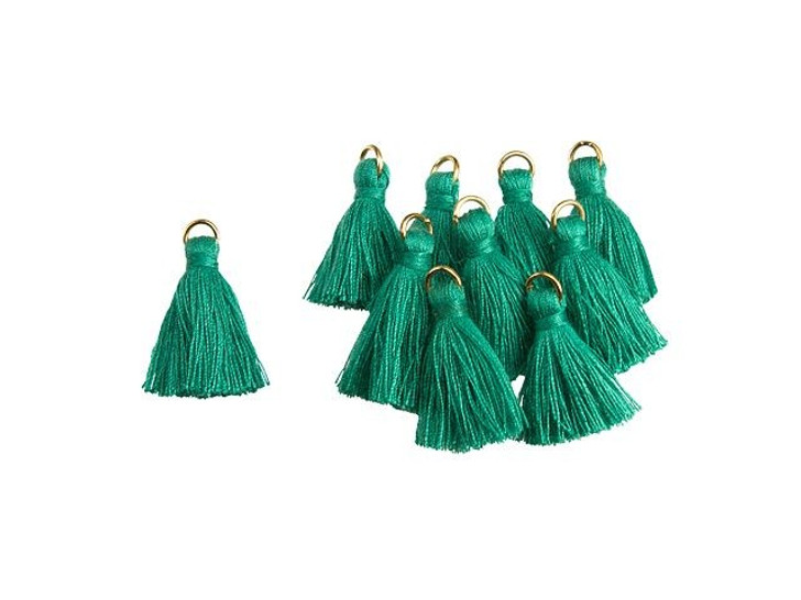 1-Inch Emerald Tassel with Gold Ring (10pc pack)