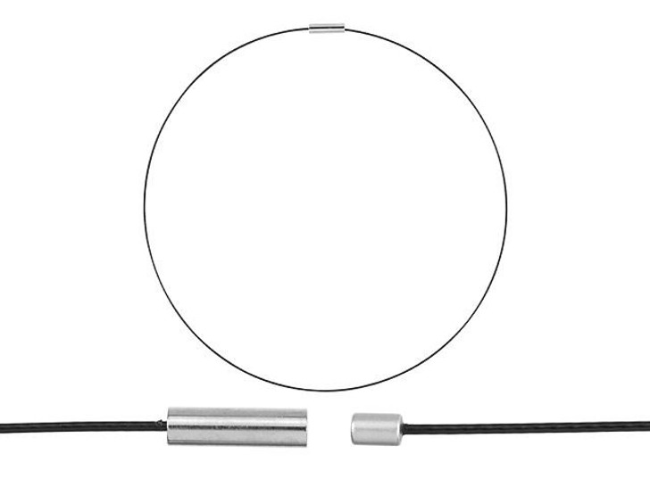 Stainless Steel 16-Inch Black Cable Necklace