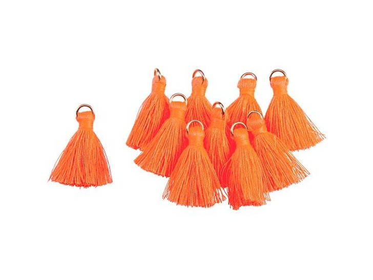 1-Inch Orange Tassel with Gold Ring (10pc pack)