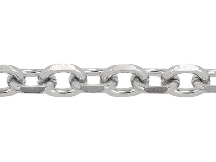 Stainless Steel Cable Chain with Diamond Cut Links by the Foot