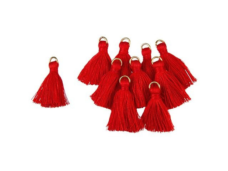 1-Inch Red Tassel with Gold Ring (10pc pack)