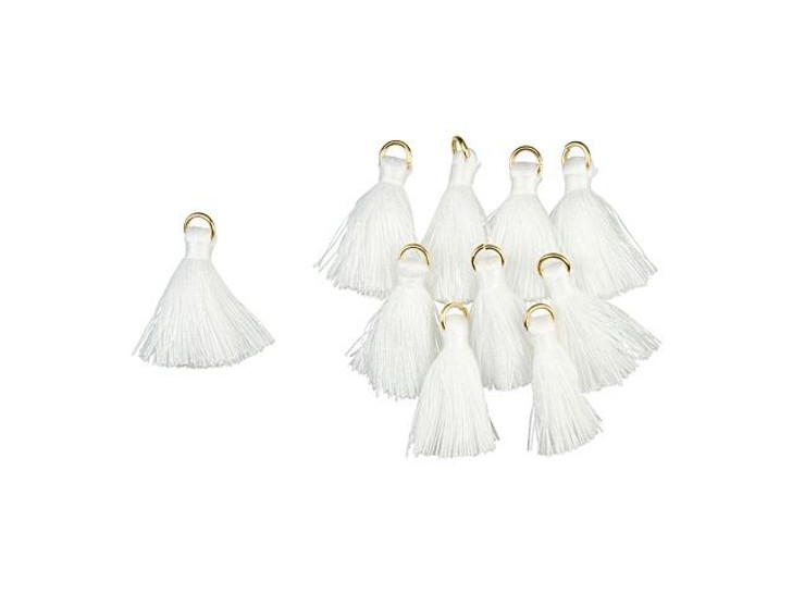1-Inch White Tassel with Gold Ring (10pc pack)