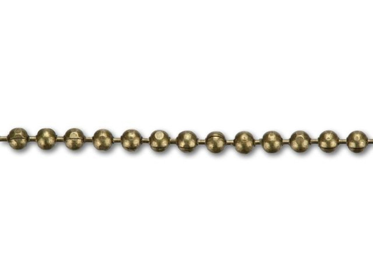 1mm Antique Brass Diamond Cut Ball Chain By the Foot
