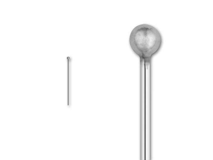 Sterling Silver 1.0-inch Ball-end Head Pin, 24 gauge