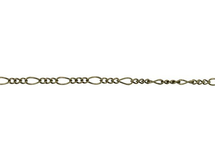1mm Antique Brass Petite Figaro Chain By the Foot