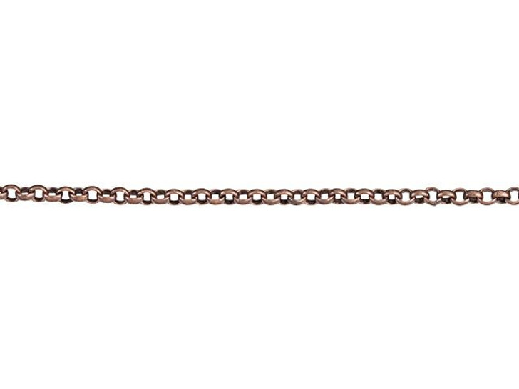 1mm Antique Copper-Plated Brass Delicate Rolo Chain by the Foot
