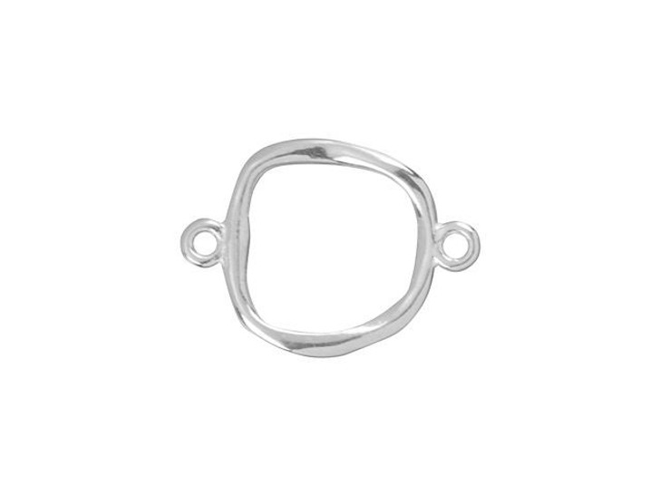 Sterling Silver 12x17mm Organic Square Link