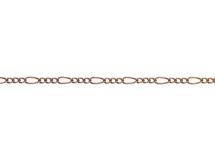 1mm Antique Copper-Plated Brass Petite Figaro Chain By the Foot