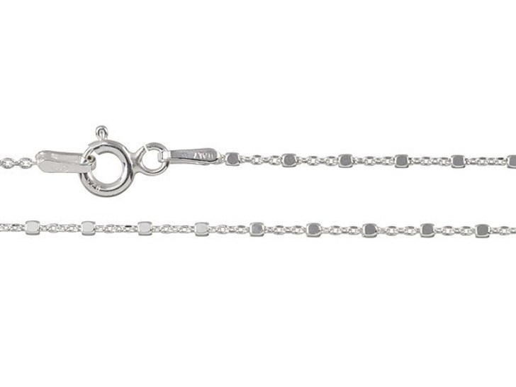 Sterling Silver 18-Inch Cable Chain with Cube Beads Necklace