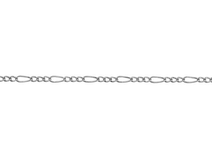 1mm Antique Silver-Plated Brass Petite Figaro Chain By the Foot
