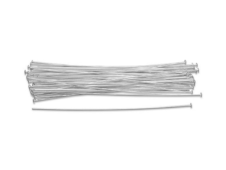 Sterling Silver 2 1/2-Inch Head Pin, 22 Gauge Bulk Pack (50 Pcs)