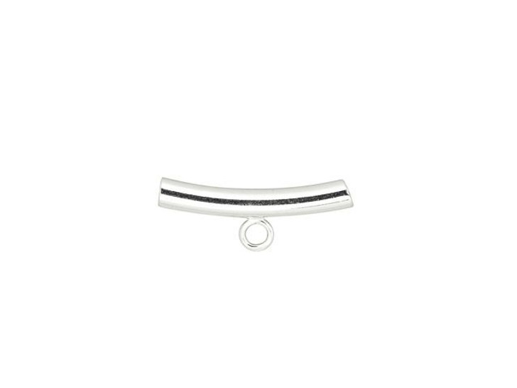 Sterling Silver 20mm Curved Tube Bead with Closed Ring