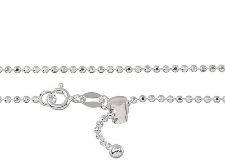 Sterling Silver 22-Inch 1.5mm Diamond Cut Adjustable Bead Chain Necklace