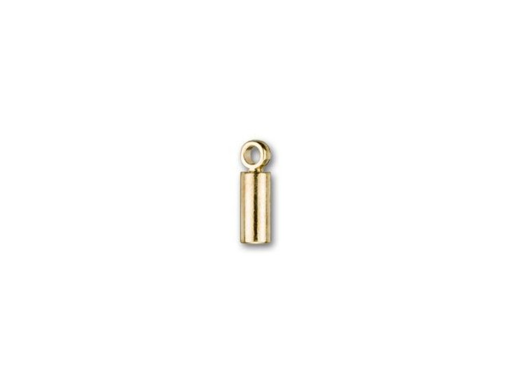 1mm Gold-Plated Cord End Cap with Loop