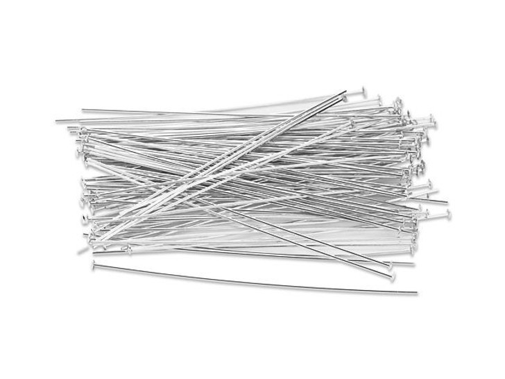 """Pack of 50 Wire Wrapper Headpins 2/"""" 24 Gauge Sterling Silver Flat Head"""