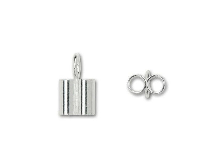 Sterling Silver 2mm Double Tube End Cap with Ring