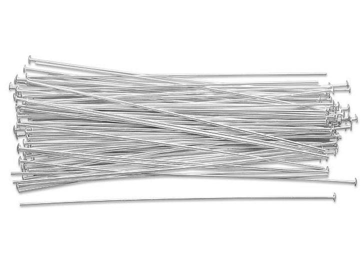 Sterling Silver 3-Inch Head Pin, 20 Gauge Bulk Pack (100 Pcs)