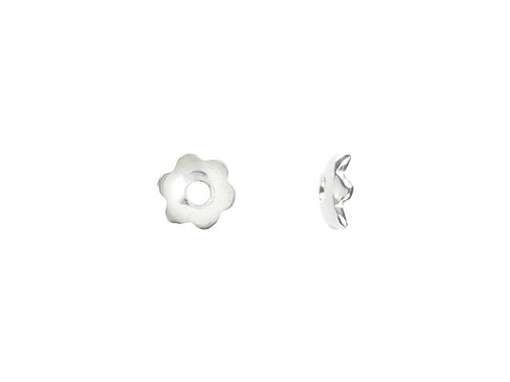 Sterling Silver 3mm 6-Petal Flower Bead Cap