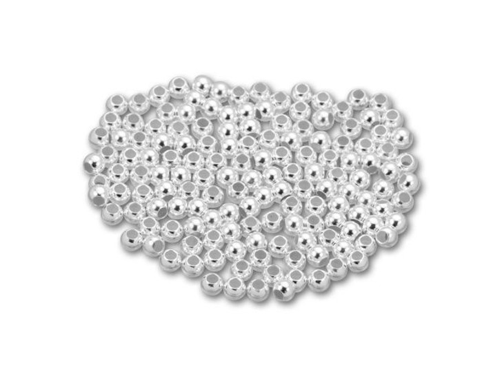Sterling Silver 3mm Seamless Round 1.5mm Hole Bead Bulk Pack (150 Pcs)