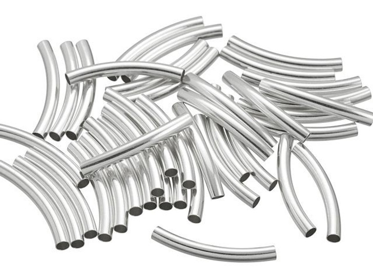 Artbeads Sterling Silver 3x25mm Curved Tube Bead Pro Pack (40 Pcs)
