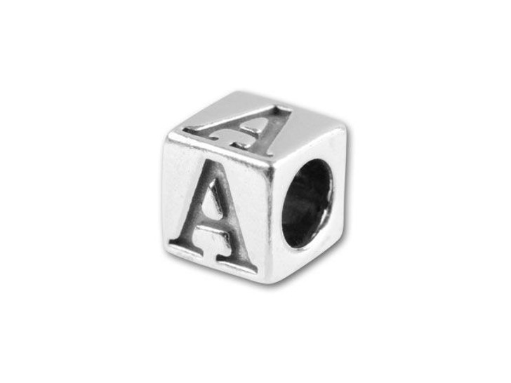 Sterling Silver 4.5mm Alphabet Bead - A