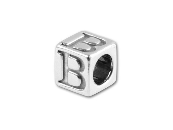 Sterling Silver 4.5mm Alphabet Bead - B