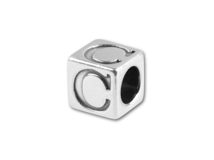 Sterling Silver 4.5mm Alphabet Bead - C