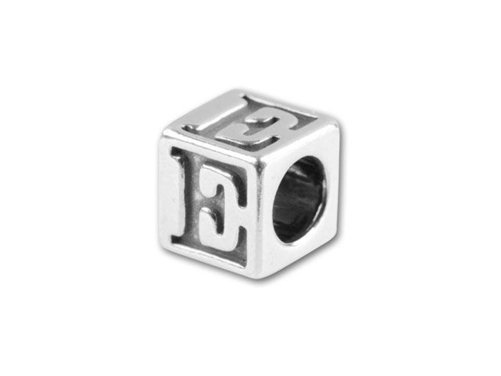 Sterling Silver 4.5mm Alphabet Bead - E