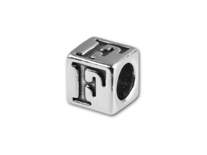 Sterling Silver 4.5mm Alphabet Bead - F