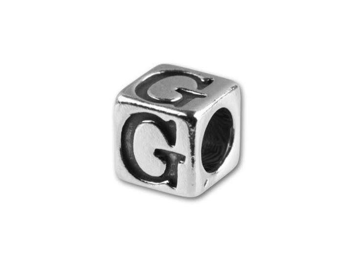 Sterling Silver 4.5mm Alphabet Bead - G