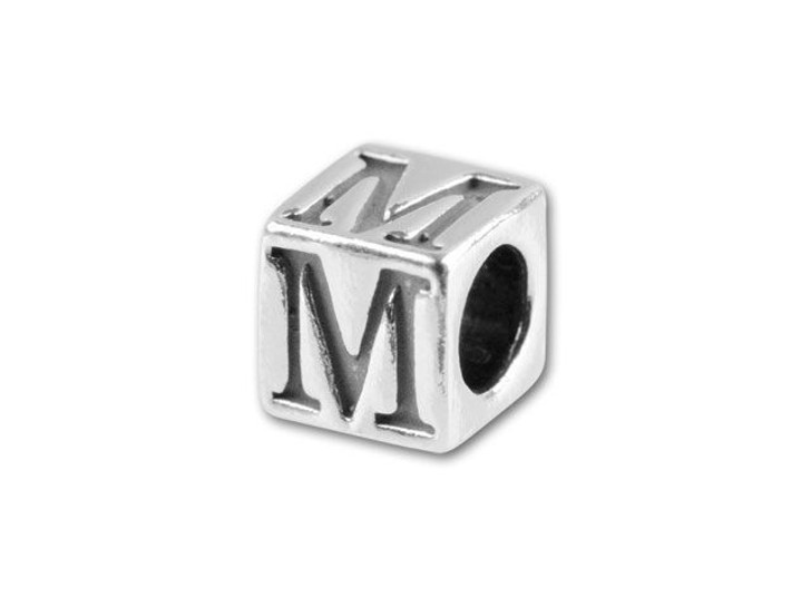 Sterling Silver 4.5mm Alphabet Bead - M