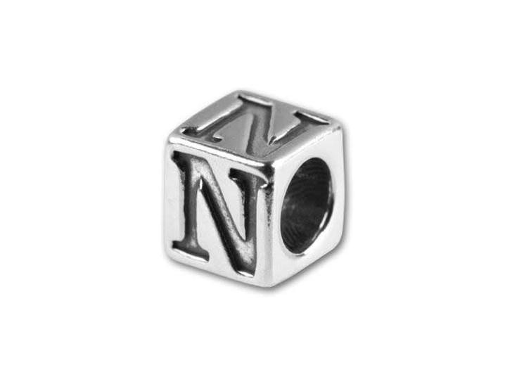 Sterling Silver 4.5mm Alphabet Bead -  N